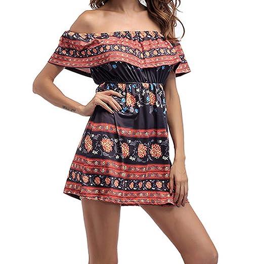 3ff35d1d1656 JESPER Fashion Women Summer Off Shoulder Floral Flare Ethnic Print Sexy Party  Casual Dresses Black