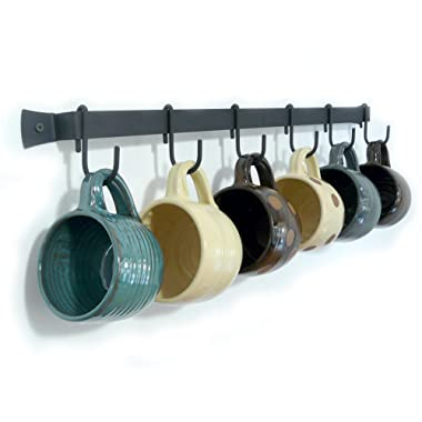 Wall-Mounted Wrought Iron Mug Rack, 24  with 6 Cup Hooks, Made in USA