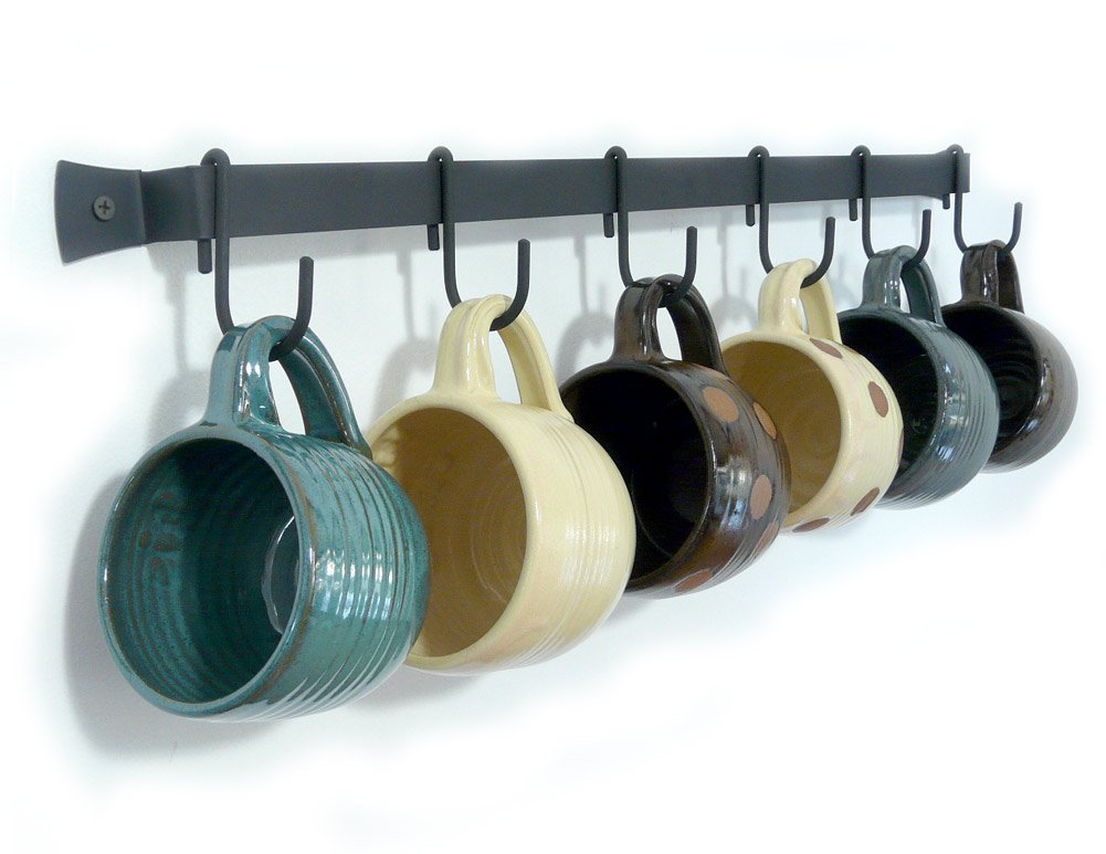 Wall-Mounted Wrought Iron Mug Rack, 24'' with 6 Cup Hooks, Made in USA