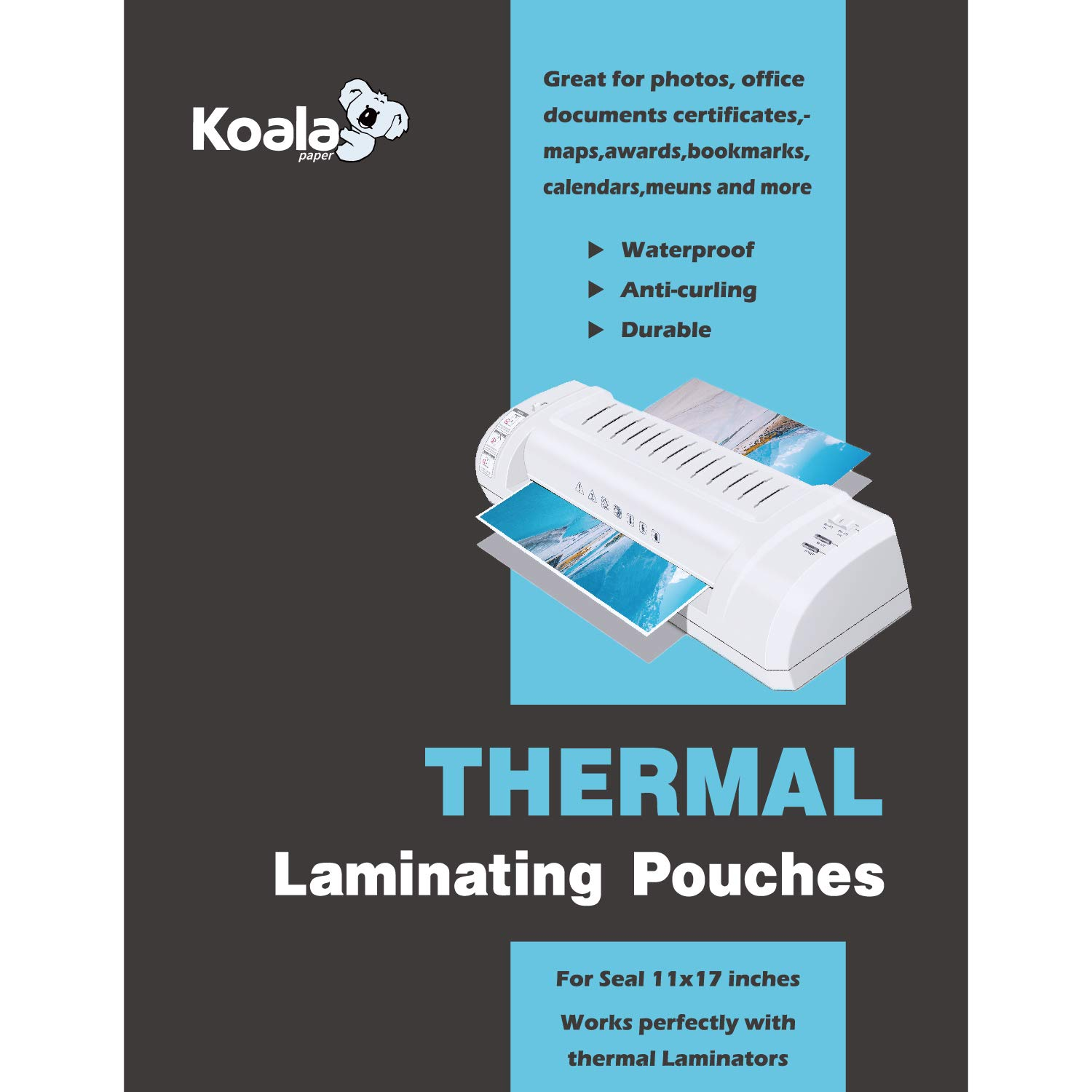Koala Clear Thermal Laminating Pouches 5 mil 11.5x17.5 Inches for Seal 11x17 Photos 50 Sheets