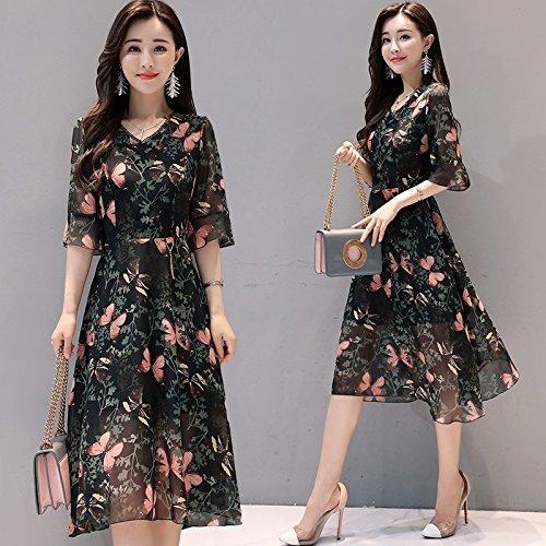 l'image Femmes Couleur de Robes Robe Jupe de Jupe Robe de Robe La MiGMV L Mousseline Longue d'impression xFqAI6wRaR