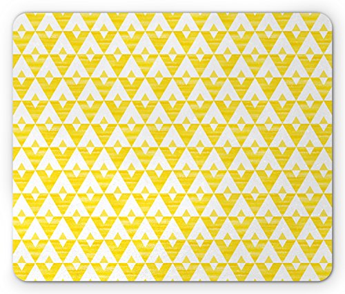 Acrylic Triangle Shape - Lunarable Yellow and White Mouse Pad, Acrylic Triangles and Design of V-Shape Horizontal Zigzag Lines, Standard Size Rectangle Non-Slip Rubber Mousepad, Yellow and White