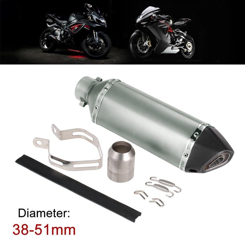 Noir KKmoon 38-51mm Moto D/échappement Silencieux Tailpipe Queue Tuyau Petit Oblique de Hexagonv Digne des Motos VTT Universel