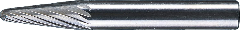 1//2 Head Diameter Radius End 1-1//8 Head Length Long-Length 1//4 Shank Uncoated Bright SL-3 L6 Double Cut Finish PFERD 14 Degree Taper Carbide Bur