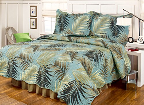4pc's Tropical Palm Tree Leaves Sea Green and Brown Quilt and Sham Set Plus One Toss PILLOW! (FULL/QUEEN SIZE 86