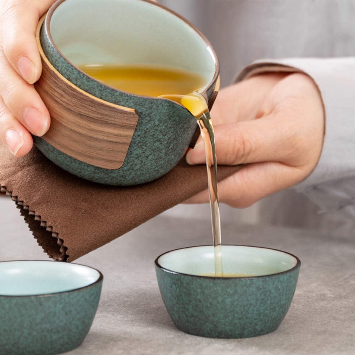 1 Pot 2 Cups Porcelain Teacups with Tea Infuser Portable Bag for Outdoor Picnic Mini Travel Ceramic Tea Pot Set Chinese Kung Fu Teapot Black