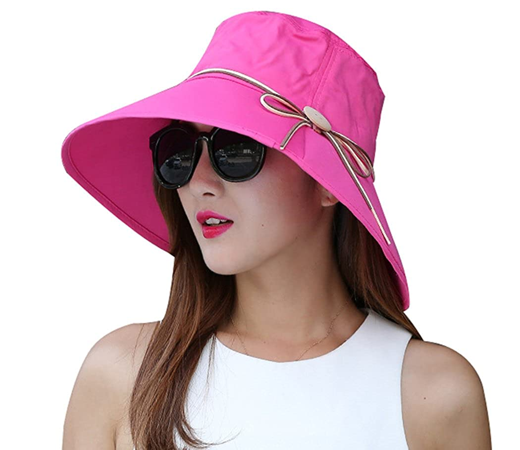 Kafeimali Women's Sun Hat Summer Beach Hat Foldable Wide Brim Bucket Travel Cap XMZ31