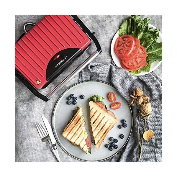 Aigostar Warme 30HHH - Panini Maker/Griglia, Pressa a sandwich, Griglia elettrica, 700 Watt, Fredda al tocco… 2