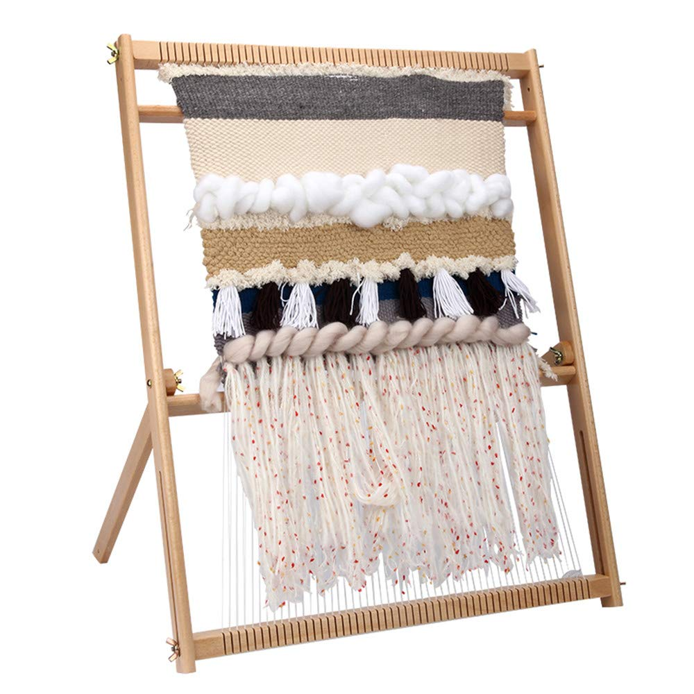 Inlovearts 23.6''H x 21.3''W Weaving Loom with Stand Wooden Multi-Craft Weaving Loom Arts & Crafts, Extra-Large Frame, Develops Creativity and Motor Skills Weaving Frame Loom with Stand for Beginners by InLoveArts