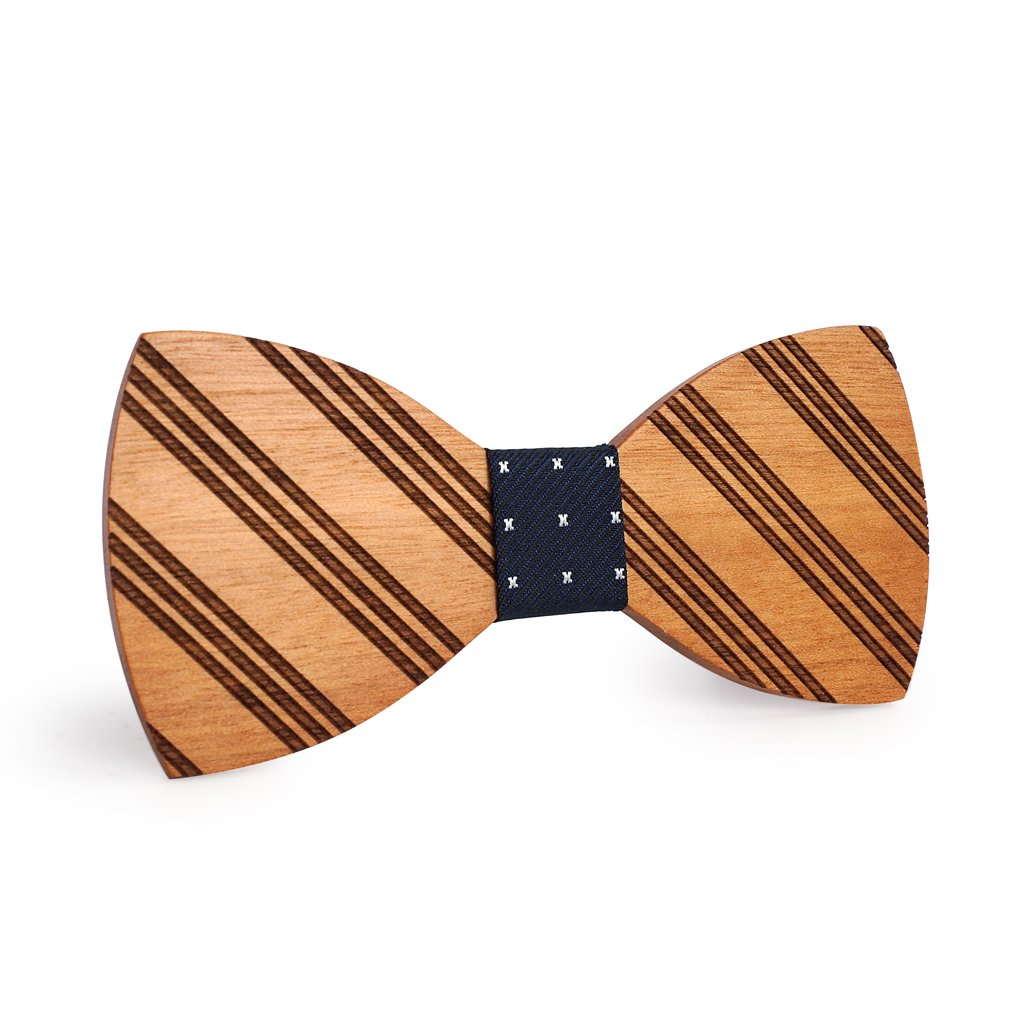 Mahoosive Stylish Striped Bow Tie for Men With Wood Case