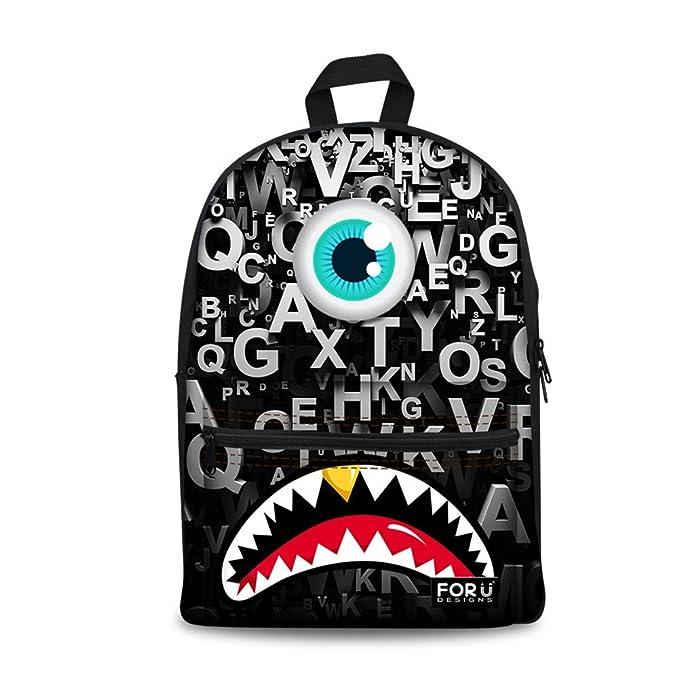 Amazon Com For U Designs Cool Black Letter Student Rucksack