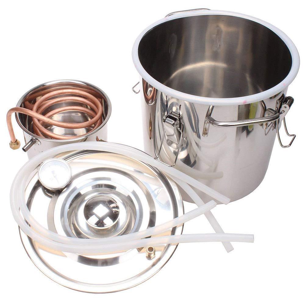 HUKOER 2 Gallon 8L Water Alcohol Distiller Copper Tube Moonshine Still Spirits Home Brew Wine Making Kit Stainless Steel Oil Boiler (2 Gal) by HUKOER