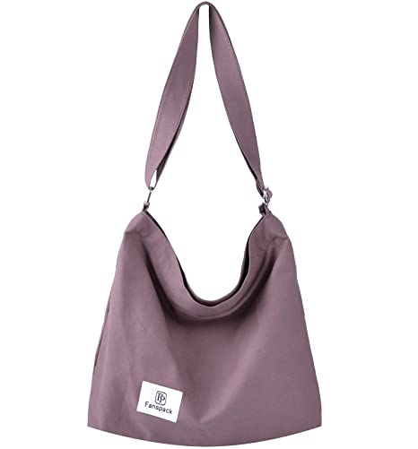 b00205983 Amazon.com: Fanspack Women's Canvas Hobo Handbags Simple Casual Top Handle  Tote Bag Crossbody Shoulder Bag Shopping Work Bag (Light Purple-Original  Design): ...