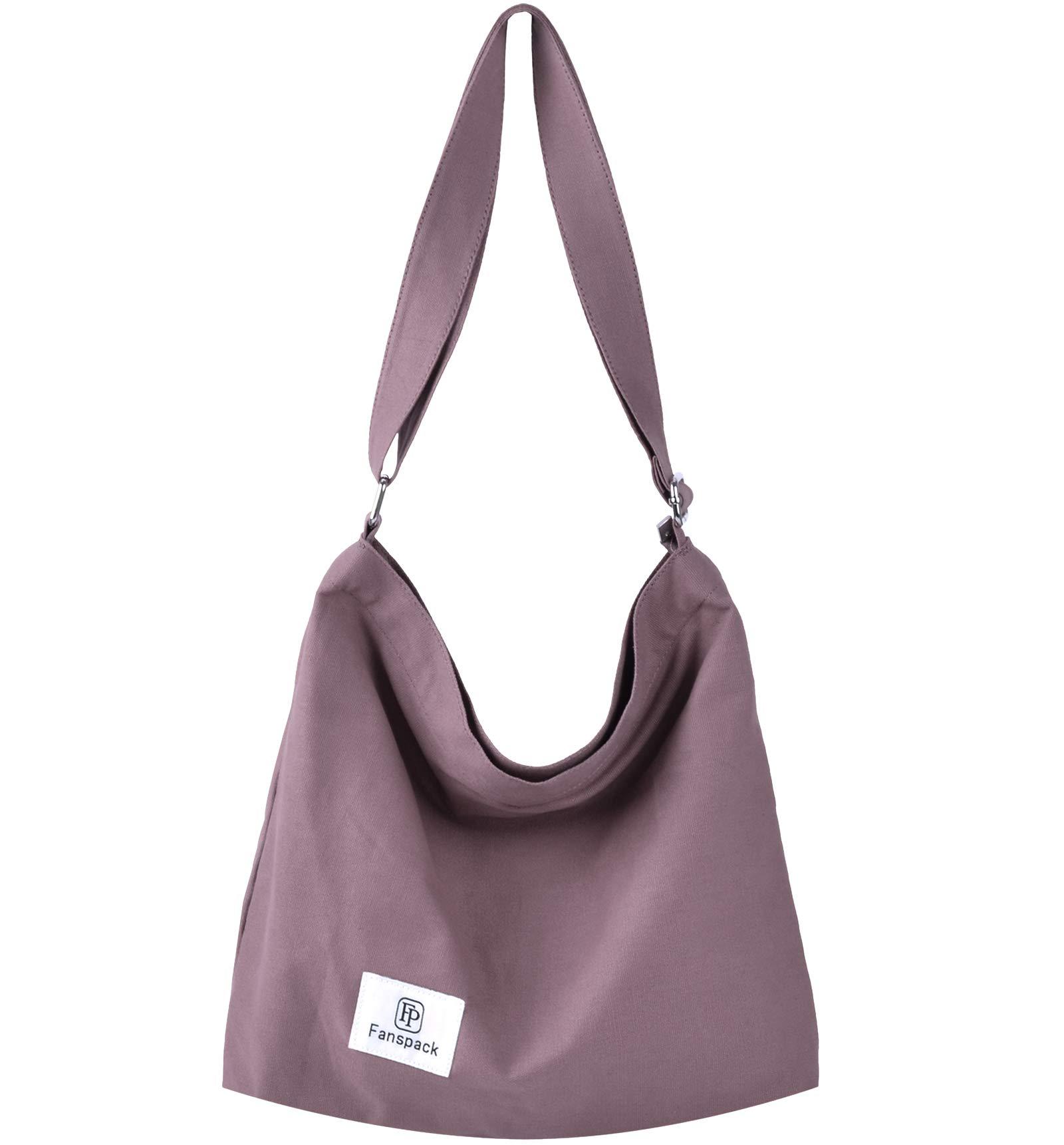 Fanspack Women's Canvas Hobo Handbags Simple Casual Top Handle Tote Bag Crossbody Shoulder Bag Shopping Work Bag (Light Purple-Original Design)