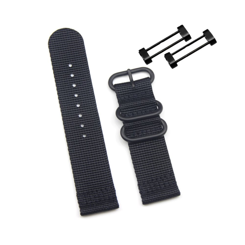 Digit.Tail Sport Military Nylon Replacement Universal NATO Watch Strap Bands Accessory with Lugs and Screw Tools for Suunto Core, Suunto Essential Smart Watch (Black)