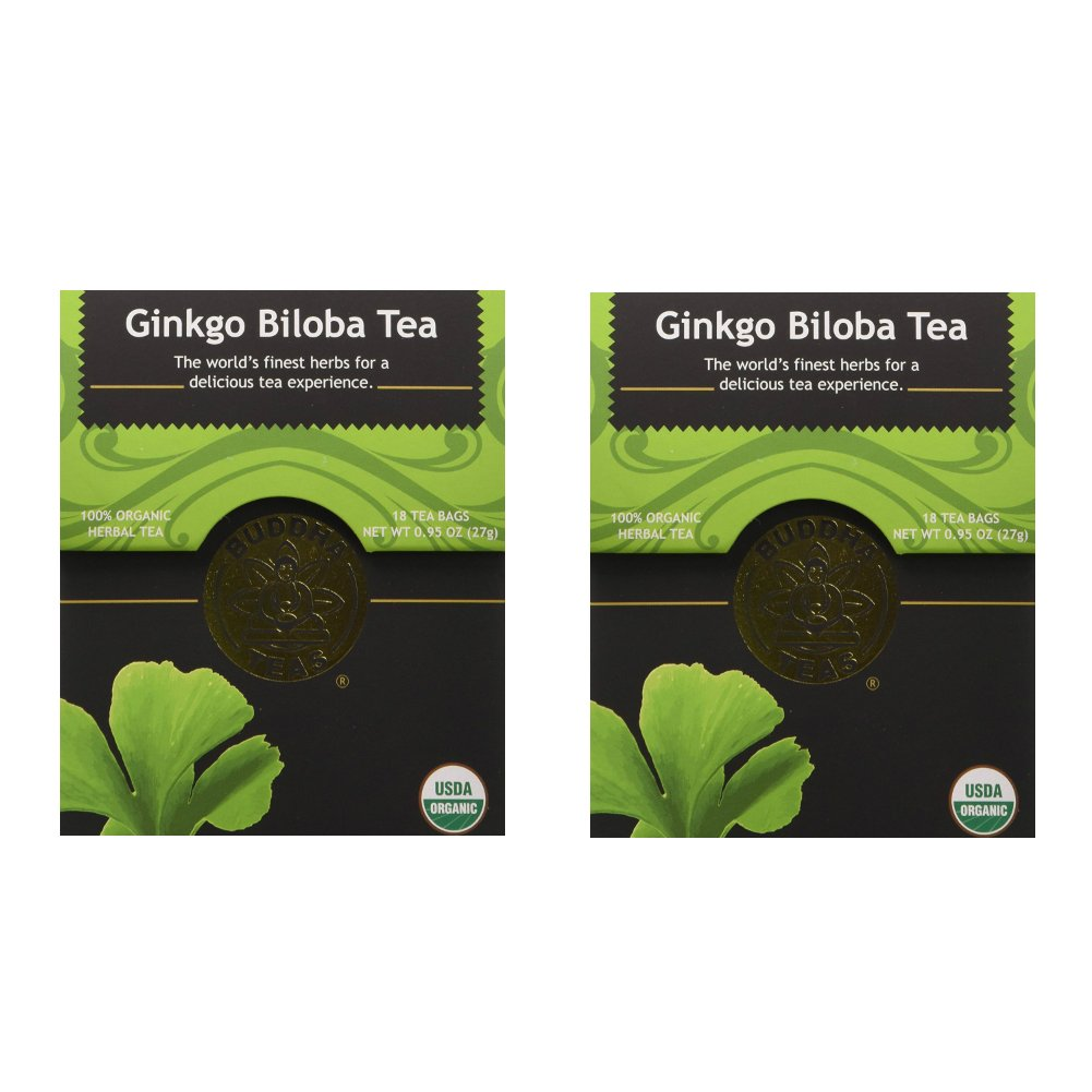 Organic Gingko Biloba Tea - Kosher, Caffeine-Free, GMO-Free - 18 Bleach-Free Tea Bags