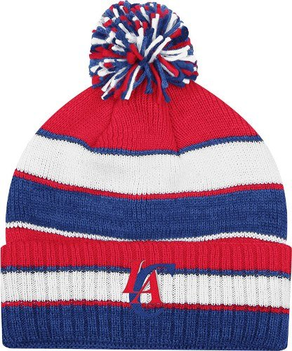 adidas Los Angeles Clippers Striped Knit Cuffed Pom Knit Cap/Beanie