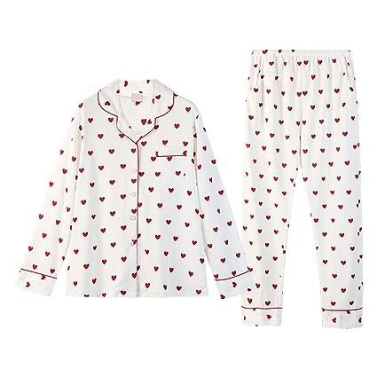 Pijamas de algodón de Manga Larga de Punto Cardigan Traje de algodón de Punto Ladies Sweet