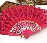 Rose Home Decoration Crafts Vintage Retro Peacock Folding Fan Hand Plastic Lace Dance Fans