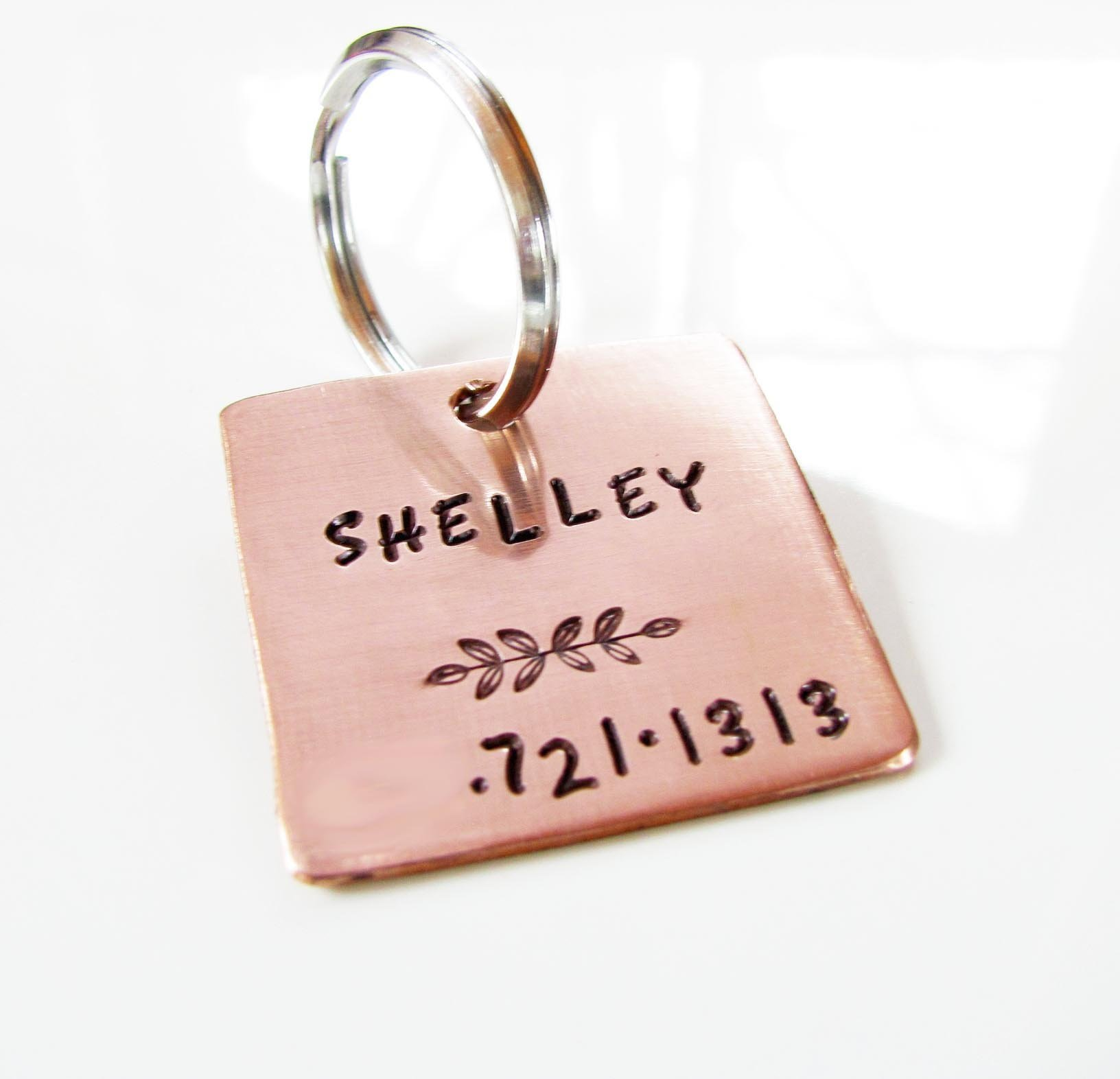 Custom Dog or Cat Pet ID Tag - Hand Stamped Copper - One Inch Square