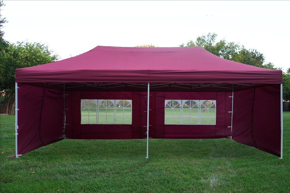 amazoncom 10x20 pop up canopy wedding party tent instant ez up canopy maroon f model commercial frame by delta sun shelters garden outdoor