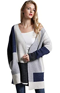Relipop Women s Open Front Long Sleeve Sweaters Rainbow Color Block Striped  Drape Knit Kimono Cardigans with bada73087