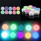 10Pcs/Set Fashion Accessory Manicure Decoration Acrylic Glow In Dark Fluorescent Neon Color Nail Powder Dust