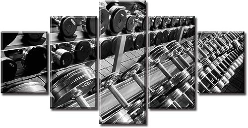 DJSYLIFE Sports Wall Decor Dumbbells Fitness Canvas Wall Art Pictures Bodybuilding Gym Pop Art Modern Home Decor Poster 5 Pieces HD Printed Artwork