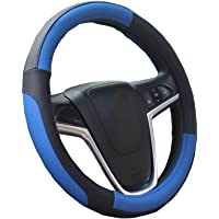 Lenkradabdeckung Lenkradhülle Lenkrad Abdeckung Lenkradbezug aus Mikrofaser-Leder 37-39 cm Schwarz Blau Mayco Bell