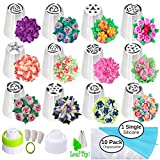 Russian Piping Tips for Cake and Cupcake Icing Decorating - 26 Piece Set - Complete with Leaf Tip - Great Nozzles for Frosting (12 Russian tips 1 Leaf Tip 2 Couplers Pastry Bags ) + Storage Box