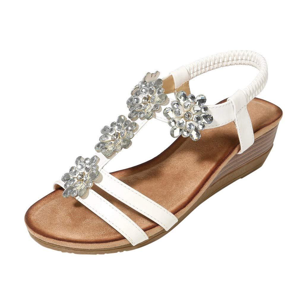 Caopixx Women Summer Beach Flat Sandals Bohemian Flip-Flop Ankle Strap Thong Rome Wedge Shoes White