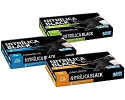 Luva Nitrílica Black Barbeiro Cabeleireiro Churrasqueiro Tintura Esteticista Profissional (Caixa com 20 unidades) (M)