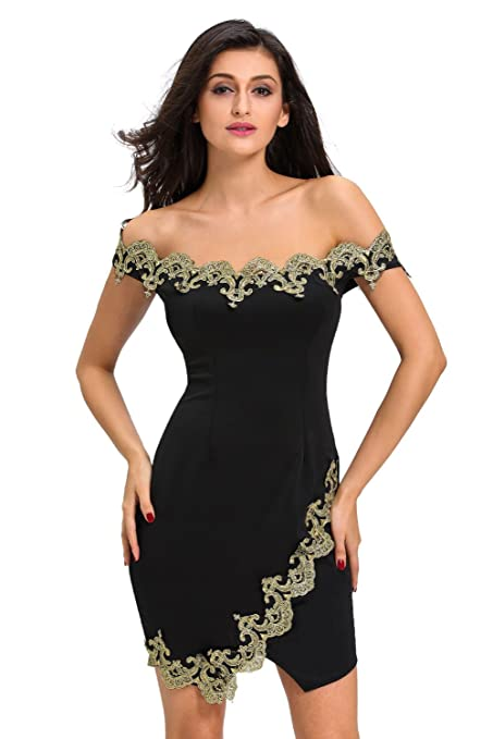 New Black & Gold Lace Bodycon Mini Dress Club Wear Evening Dresses Party Wear Size XL