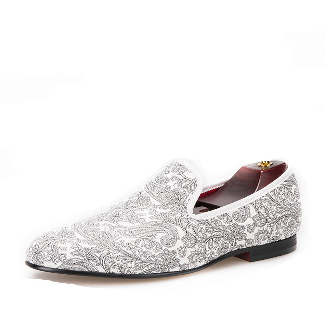 HI&HANN Paisley Prints Men's White Casual Loafer Shoes Slip-on Loafer Round Toes Smoking Slipper-12-Silver