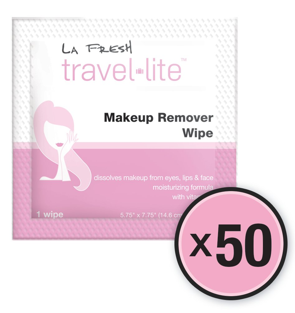 La Fresh Makeup Remover Cleansing Travel Wipes Natural, Biodegradable, Waterproof, Facial Towelettes With Vitamin E Individually Wrapped & Sealed Packets (50 Count)