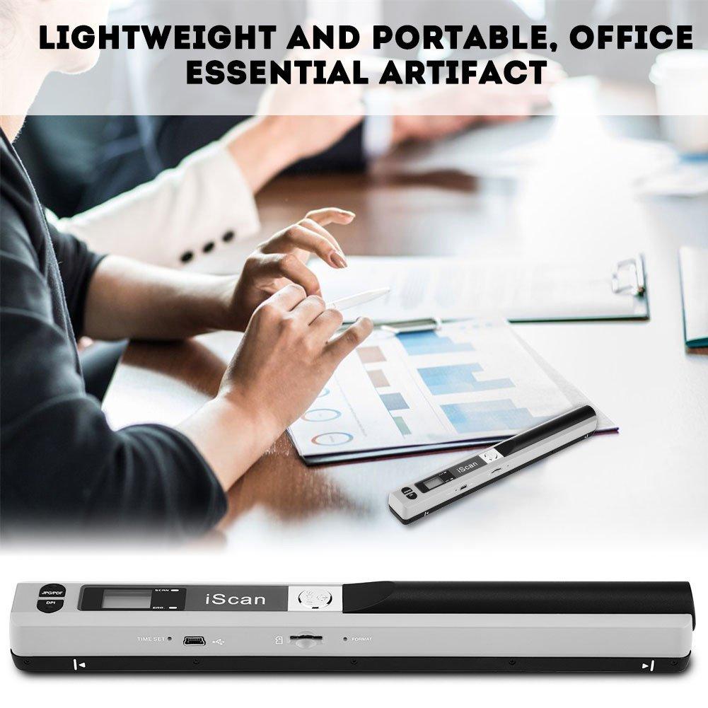 Richer-R Hand-Held Scanners, Handheld Scanner Portable Scanner USB Pen Scanner A4 Scan JPG/PDF USB 2.0(Gray)
