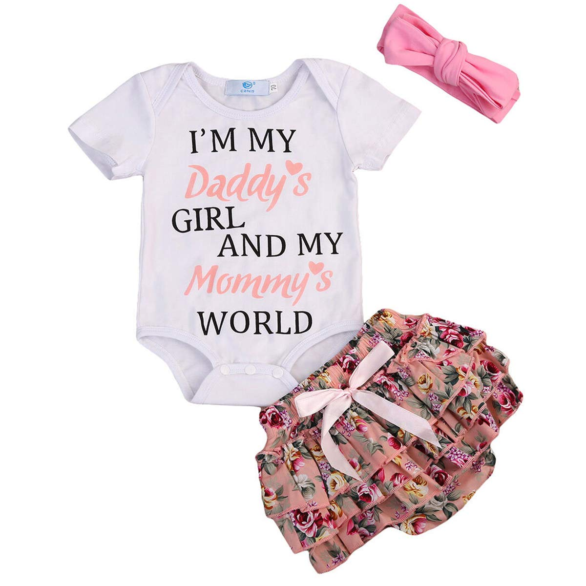 Newborn Baby Girls Clothes Im The Pink in My Daddys World of Camo Rompers+Ruffel Pants Shorts+Headband 3PCS Outfits Set