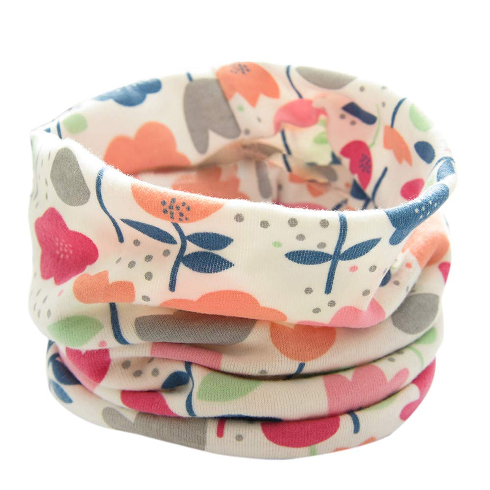 Inkach Winter Baby Boy Girl Floral Print Scarf Cotton O-Ring Neck Scarves Beige Kids Infinity Scarf