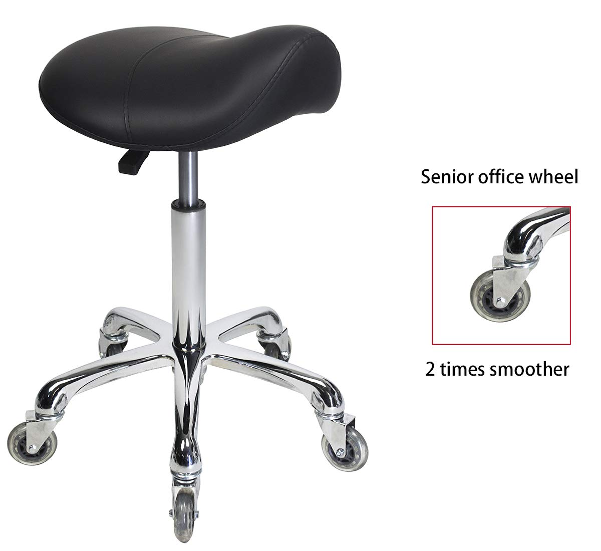 Antlu Saddle Rolling Ergonomic Swivel Stool Chair, for Drafting Massage Clinic Spa Salon,Adjustable Hydraulic with Wheels (Black)