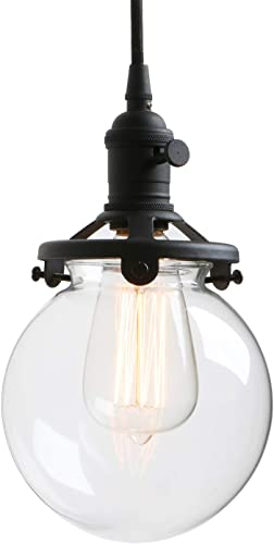 Permo Vintage Industrial Pendant Light Fixture Mini 5.9 Round Clear Glass Globe Hand Blown Shade Black