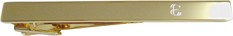 Gold Toned Etched Greek Letter Epsilon Square Tie Clip