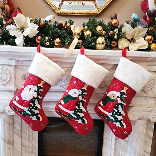 (WEWILL 18'' Diamond Christmas Stockings Set of 3 Classic Red White Plush Cuff Embroidered Snowman Reindeer Santa Claus Xmas Stockings Gift Bag Home Holiday Tree Decoration )
