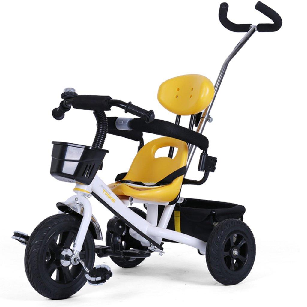 HAIZHEN マウンテンバイク 子供の三輪車非インフレータブルゴムのチタン空のホイール調節可能なプッシュロッド自転車1-5歳のトロリー自転車 新生児 B07DL8LS77 白 白
