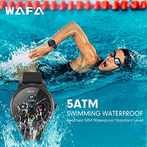 WAFA Smart Watch, 5ATM Waterproof Fitness Tracker Watch with Heart Rate Monitor, IPS Touch Screen GPS Activity Tracker Watch with Sleep Step Blood Pressure Pedometer Watch Compatible Android iPhone