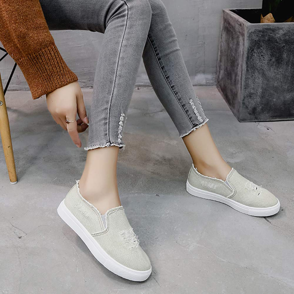 Amazon.com: Faionny Women Shoes Flat Denim Shoes Students Sneakers Christmas Flats Slip-On Ankle Boots Single Shoes: Clothing