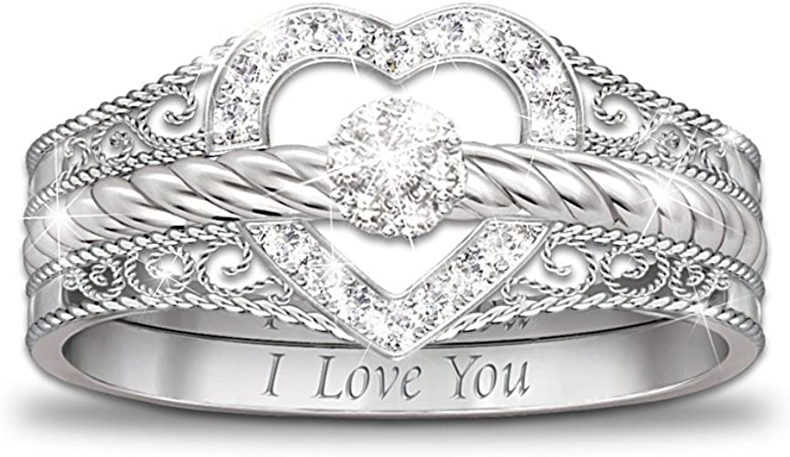 Amazon Com Bradford Exchange I Love You Heart Shaped Diamond Stacking Rings By The The Bradford Exchange Jewelry