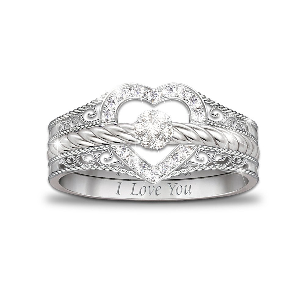 Bradford Exchange I Love You Heart-Shaped Diamond Stacking Rings by...