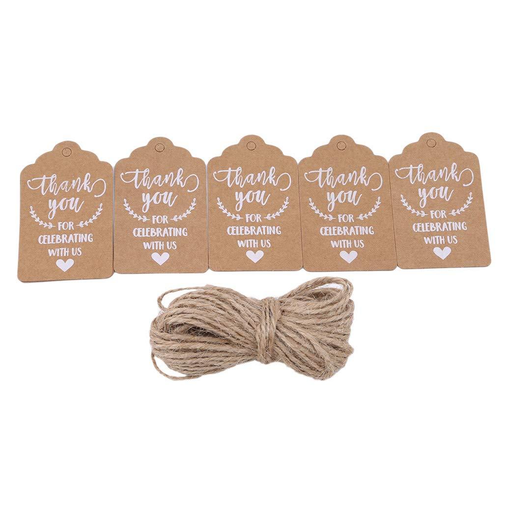 Nyaole 50PCS Thank You Brown Kraft Paper tag etichette per bagagli con spago di iuta per festa di nozze,