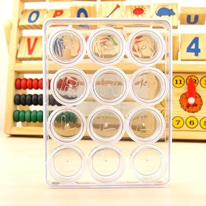 Shaoyanger Shoaynger - Caja de 12 unidades de alta definición para exhibir objetos de belleza, transparente, estuche doble para lentes de contacto: Amazon.es: Salud y cuidado personal
