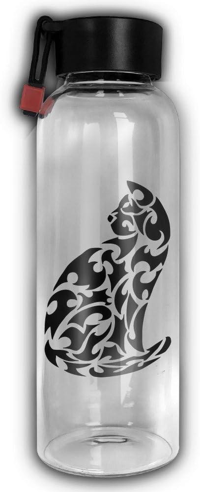 Tiger medio ambiente cilíndrico alta portátil botella de agua de vidrio con cuerda gafas tazas taza: Amazon.es: Deportes y aire libre